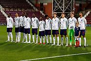 England team during the national anthems at the U21 UEFA EUROPEAN CHAMPIONSHIPS match Scotland vs England at Tynecastle Stadium, Edinburgh, Scotland, Tuesday 16 October 2018.