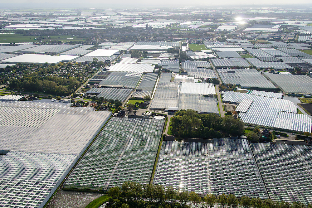 Nederland, Zuid-Holland, Gemeente Westland, 23-10-2013; Glazen stad, Kassengebied Westland, richting Poeldijk.<br /> Greenhouses area in the West of the Netherlands, the heart of the production of vegetables and fruit for export. Between The Hague and Rotterdam<br /> luchtfoto (toeslag op standard tarieven);<br /> aerial photo (additional fee required);<br /> copyright foto/photo Siebe Swart