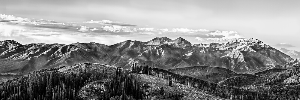 Panoramic black and white view of Guardsman Pass in Utah's Wasatch Mountains.