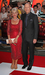 Red 2 UK film premiere.<br /> Dame Helen Mirren with Bruce Willis  during the premiere of the sequel to 2010's graphic novel adaption, about a group of retired assassins. <br /> Empire Leicester Square<br /> London, United Kingdom<br /> Monday, 22nd July 2013<br /> Picture by i-Images