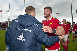 May 20, 2017 - Limerick, Irland - Jaco Taute of Munster and his teammate John Ryan during the Guinness PRO12 Semi-Final match between Munster Rugby and Ospreys at Thomond Park Stadium in Limerick, Ireland on May 20, 2017  (Credit Image: © Andrew Surma/NurPhoto via ZUMA Press)