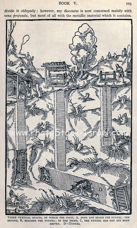 Mine shafts and tunnels construction Georgius Agricola De re metallica, translated into English from the 1st Latin ed. of 1556, printed in London by The Mining magazine in 1912