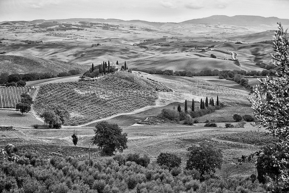 Black and white photo, stunning landscape, Val D'Orcia, Tuscany, Italy.