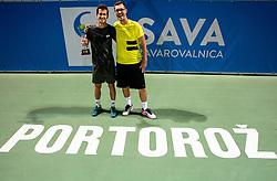 Winner Aljaz Bedene of Slovenia and Miha Mlakar, coach after the Final match at Day 10 of ATP Challenger Zavarovalnica Sava Slovenia Open 2019, on August 18, 2019 in Sports centre, Portoroz/Portorose, Slovenia. Photo by Vid Ponikvar / Sportida