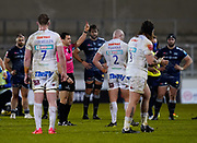 Referee Karl Dickson shows a red card while sending off Exeter Chiefs hooker Jack Yeandle during a Gallagher Premiership Round 11 Rugby Union match, Friday, Feb 26, 2021, in Eccles, United Kingdom. (Steve Flynn/Image of Sport)