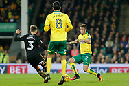 Norwich City defender Ivo Pinto (2) Wolverhampton Wanderers defender Barry Douglas (3) battles for possession during the EFL Sky Bet Championship match between Norwich City and Wolverhampton Wanderers at Carrow Road, Norwich, England on 31 October 2017. Photo by Phil Chaplin.