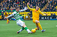 Jack McMillan (#21) of Livingston FC blocks a shot from Callum McGregor (#42) of Celtic FC during the Ladbrokes Scottish Premiership match between Livingston FC and Celtic FC at The Tony Macaroni Arena, Livingston, Scotland on 6 October 2019.