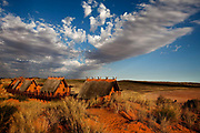 Kagalagadi Transfrontier Park, Xaus camp, it's situation in the landscape on the high point of an immense dune. !Xaus, is owned by the San (Bushman) and Mier people who originally hunted here, and had a large tract of land in the park returned to them a few years ago.