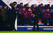 Manchester City Manager Pep Guardiola argues with the forth official on the touchline .Carabao Cup quarter final match, Leicester City v Manchester City at the King Power Stadium in Leicester, Leicestershire on Tuesday 19th December 2017.<br /> pic by Bradley Collyer, Andrew Orchard sports photography.