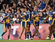 Eels celebrations.<br /> Penrith Panthers v Parramatta Eels.<br /> 2021 NRL Finals.<br /> © image by NRL Photos