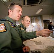 RAF fighter pilots prepare for sortie flight at crew briefing room RAF Wittering.