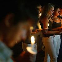(POCEAN) Jackson  8/23/2002   Overall of the candle light vigil for the 4 Jackson teens killed in a recent car crash.   Michael J. Treola Staff Photographer.......MJT
