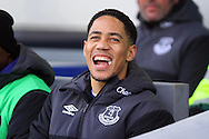Steven Pienaar of Everton laughs as he takes his seat on the bench. Barclays Premier League match, Everton v West Bromwich Albion at Goodison Park in Liverpool on Saturday 13th February 2016.<br /> pic by Chris Stading, Andrew Orchard sports photography.