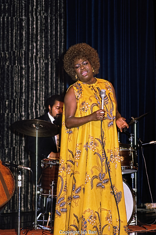 Sarah Vaughan with her trio on stage on board SS Rotterdam For The Jazz Cruise