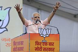 May 1, 2019 - Jaipur, Rajasthan, India - Prime Minister Narendra Modi addressing the election rally for the upcoming Lok Sabha polls in Jaipur,Rajasthan, India on May 01,2019. (Credit Image: © Vishal Bhatnagar/NurPhoto via ZUMA Press)