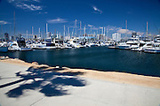 Boats Docked At Rainbow Harbor In Long Beach California
