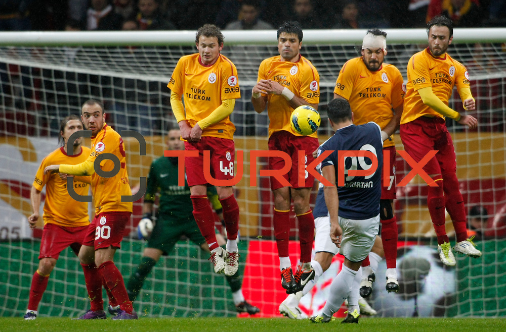 Galatasaray's players during their Turkey Cup matchday 3 soccer match Galatasaray between AdanaDemirspor at the Turk Telekom Arena at Aslantepe in Istanbul Turkey on Tuesday 10 January 2012. Photo by TURKPIX