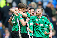 Sean Raggett of Lincoln City (l) celebrates with his teammates after he scores his teams 1st goal. The Emirates FA cup 5th round match, Burnley v Lincoln City at Turf Moor in Burnley, Lancs on Saturday 18th February 2017.<br /> pic by Chris Stading, Andrew Orchard Sports Photography.