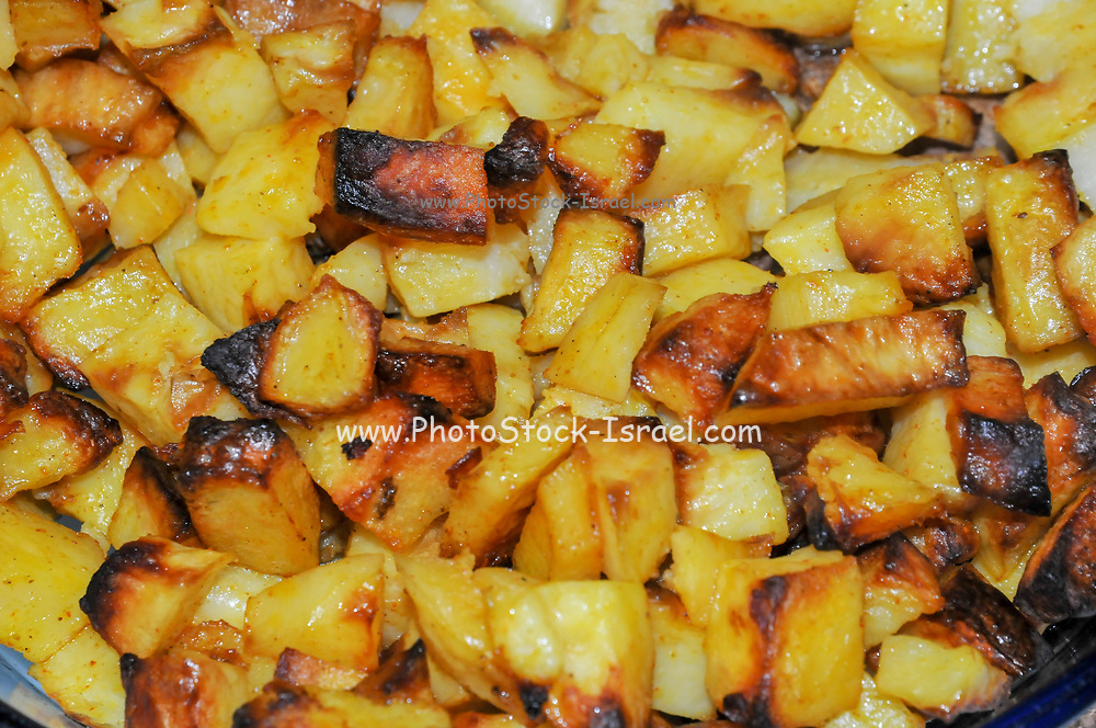 Home cooked meal A bowl of grilled potato squares