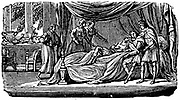 Alexander the Great (Alexander III of Macedon) 356-323 BC. Alexander on his deathbed. Woodcut from young person's book New York 1830