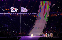 Singer Hwang Su-mi during the Opening Ceremony of the PyeongChang 2018 Winter Olympic Games at the PyeongChang Olympic Stadium in South Korea.