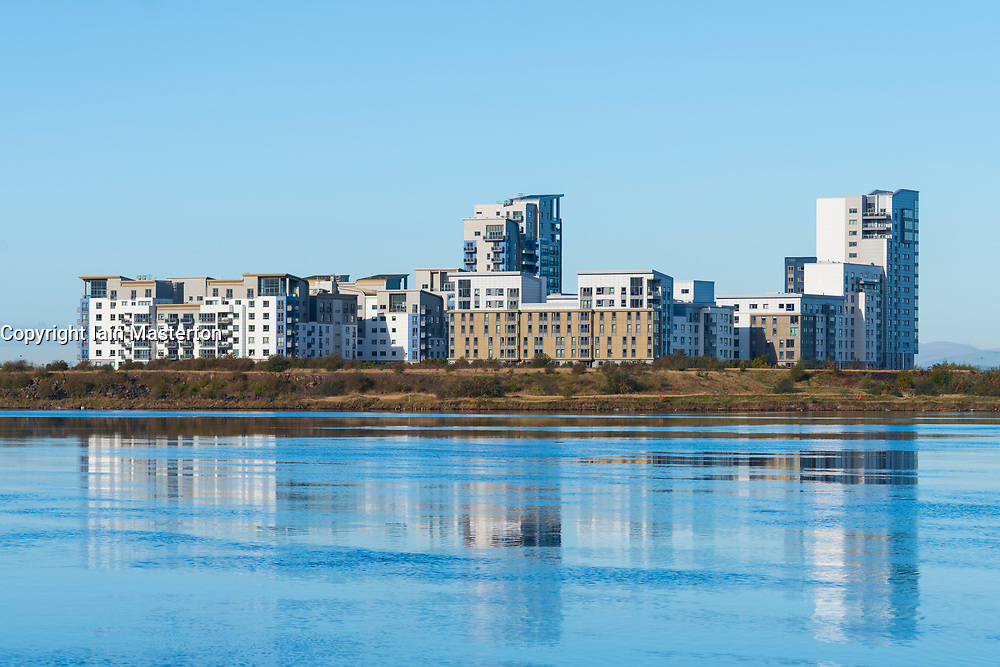 View of modern apartment buildings at Western Harbour housing development in Leith, Scotland, UK