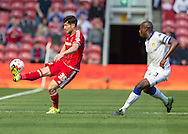 Middlesbrough FC striker David Nugent controls the ball watched by Leeds United FC defender Souleman Bamba    during the Sky Bet Championship match between Middlesbrough and Leeds United at the Riverside Stadium, Middlesbrough, England on 27 September 2015. Photo by George Ledger.