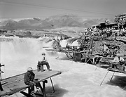 "Ackroyd 03991-5. ""Indians fishing at Celilo Falls. September 13, 1952"""
