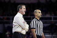 HIGH POINT, NC - JANUARY 06: Charleston Southern head coach Barclay Radebaugh talks to referee Matt Myers. The High Point University of Panthers hosted the Charleston Southern University Buccaneers on January 6, 2018 at Millis Athletic Convocation Center in High Point, NC in a Division I men's college basketball game. HPU won the game 80-59.