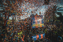 April 30, 2018 - Barcelona, Catalonia, Spain - A confetti canon explodes as thousands of 'cules' fill the streets to follow the FC Barcelona's open top bus victory parade after winning the LaLiga with their eighth double in the club history (Credit Image: © Matthias Oesterle via ZUMA Wire)