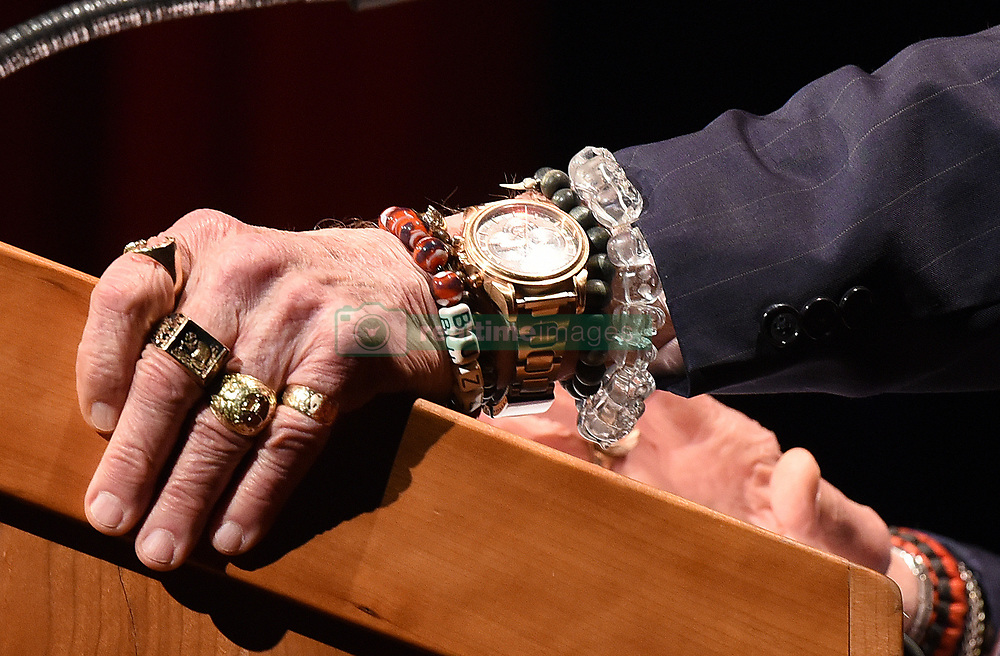 Gemini XII & Apollo XI astronaut Buzz Aldrin wears a skull ring and skulls bracelet as he speaks during the Humans 2 Mars Summit at the George Washington University in Washington, DC, on May 9, 2017.