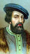 Hernando Cortez (Cortes - 1485-1547) Spanish conquistador who conquered Mexico. Chromolithograph