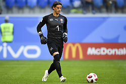 July 3, 2018 - Saint Petersburg, Russia - Yann Sommer of Switzerland controls the ball during the 2018 FIFA World Cup Round of 16 match between Sweden and Switzerland at Sankt Petersburg Stadium in Sankt Petersburg, Russia on July 3, 2018  (Credit Image: © Andrew Surma/NurPhoto via ZUMA Press)