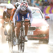 Olga Zabelinskaya of Russia leads out Marianne Vos of the Netherlands and Lizzie Armistead of Great Britain during the final kilometre of the London 2012 Woman's Olympic Road Race. Vos would go on to win to gold over Armistead in the sprint with Zabelinskaya finishing third. July 29, 2012.<br /> <br /> Picture by Jack Megaw   www.jackmegaw.com<br /> +44 7481 764811<br /> jack@jackmegaw.com<br /> 29/07/2012
