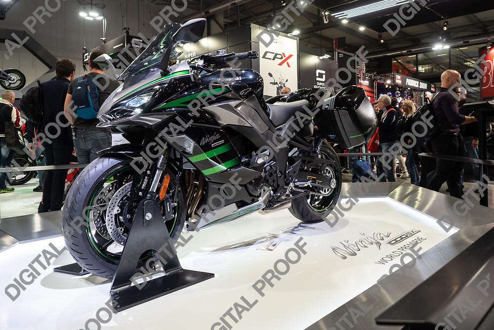 RHO Fieramilano, Milan Italy - November 07, 2019 EICMA Expo. Kawasaki exhibits its motorcycle ninja model 1000 SX at EICMA 2019