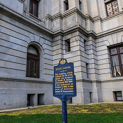 Harrisburg, PA, USA - March 25, 2012: Historical sign at the Pennsylvania State Capital Building in Harrisburg, PA