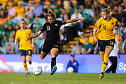Rosie White lines up a shot during the Cup of Nations Women's Football match, New Zealand Football Ferns v Matildas, Leichhardt Oval, Thursday 28th Feb 2019. Copyright Photo: David Neilson / www.photosport.nz