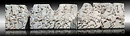 Marble Releif Sculptures from the frieze around the Parthenon Block XXXVII to XLI  100 to 114 . From the Parthenon of the Acropolis Athens. A British Museum Exhibit known as The Elgin Marbles .<br /> <br /> If you prefer to buy from our ALAMY STOCK LIBRARY page at https://www.alamy.com/portfolio/paul-williams-funkystock/greco-roman-sculptures.html . Type -    Elgin    - into LOWER SEARCH WITHIN GALLERY box - Refine search by adding a subject, place, background colour, etc.<br /> <br /> Visit our ROMAN WORLD PHOTO COLLECTIONS for more photos to download or buy as wall art prints https://funkystock.photoshelter.com/gallery-collection/The-Romans-Art-Artefacts-Antiquities-Historic-Sites-Pictures-Images/C0000r2uLJJo9_s0