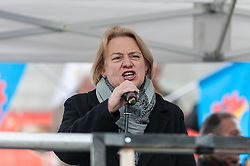 "© Licensed to London News Pictures. 06/03/2016. London, UK. Natalie Bennett, leader of the Green Party, addresses demonstrators gathered in Trafalgar Square for the ""Stop Turkey's war on Kurds - Break the silence"" protest calling an end to the siege and mass murder of Kurdish people in Turkey. Photo credit : Stephen Chung/LNP"