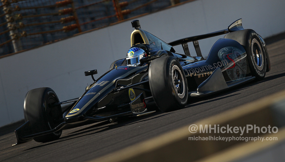 May 17, 2012; Indianapolis, IN, USA; IndyCar series driver Jean Alesi seen on the track during practice for the Indianapolis 500 at the Indianapolis Motor Speedway.  Mandatory Credit: Michael Hickey-US PRESSWIRE