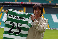 Shunsuke Nakamura parades at Celtic  park today with his new strip and number 25 after signing for Celtic<br /> <br /> Pic ian Stewart, Friday 29th July 2005