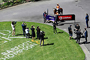 Photographers and videographers with Opie Bosson on Need I Say More, winnner of Race 5, FastTrack Mufhasa Stakes 1300.<br /> Vodafone Derby Day at Ellerslie Race Course, Auckland on Sunday 7th March 2021 during lockdown level 2.<br /> Copyright photo: Alan Lee / www.photosport.nz