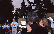 Spellbound. during the Clinton Gore bus trip through Texas, August 28 1992<br /><br />Photograph ny Dennis Brack. bb78