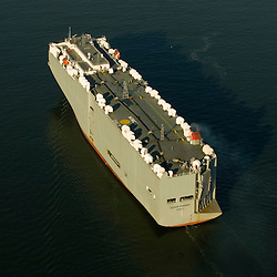 Aerial photograph of the Ocean Highway Car Container, Vehicles Carrier, in the New York Harbor.