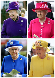 File photo composite of Queen Elizabeth II who will wear a blue hat if the bookmakers' favourite odds for the royal wedding come true, the colour of the Queen's hat always generates a flurry of bets, blue is the favourite at 2/1, followed by pink 3/1, orange 4/1, purple 5/1, and green or yellow at 6/1.
