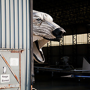 The giant polar bear Aurora, a Greenpeace creation, is test run on North Weald Airfield near Epping. It is the first day it its pulled and puppeteers gets a chance to get her legs and feet moving.
