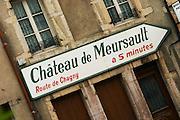 road sign ch de meursault beaune cote de beaune burgundy france