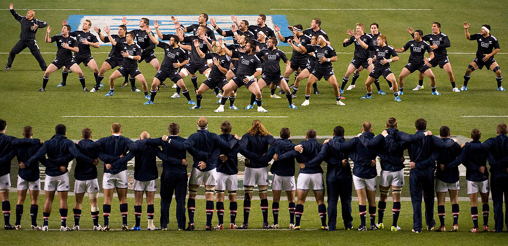 The New Zealand Maori All Blacks perform the Haka in front of the USA Eagles before their match at PPL Park in Philadelphia on Saturday November 9, 2013. The Haka is a traditional Maori war dance which the All Blacks perform before each match. <br /> <br /> Picture by Jack Megaw   www.jackmegaw.com<br /> +44 7481 764811<br /> jack@jackmegaw.com<br /> 09/11/2013
