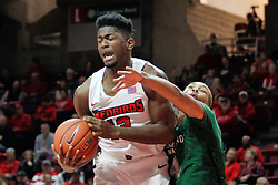 NORMAL, IL - December 16: Rey Idowu hacked by Seth Millner during a college basketball game between the ISU Redbirds and the Cleveland State Vikings on December 16 2018 at Redbird Arena in Normal, IL. (Photo by Alan Look)