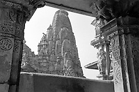 """India, Khajuraho,1999. A timeless view: level upon level of decoration culminates in a """"sikhara,"""" or spire, in Khajuraho. The sheer erotic joy expressed in stone by these Chandela artisans is a wonder to behold."""